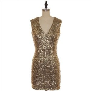 Dresses & Skirts - PARTY COLLECTION | Gold S/L Sequin Mini Dress